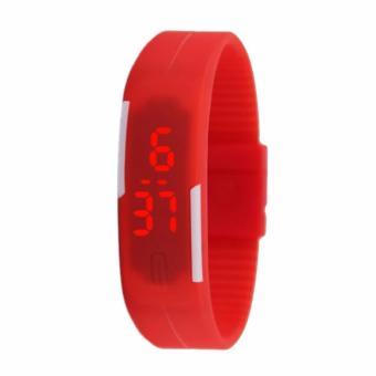 Jam Tangan LED Gelang Karet - merah