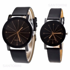 Jam Tangan Quartz 1 Pair Pria dan Wanita Strap Kulit PU Men Women Stainless Steel Leather Couple Watch