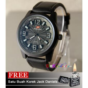 Jam Tangan Swiss Army - B113BC - Leather Strap - Free Lighter Jack Daniels