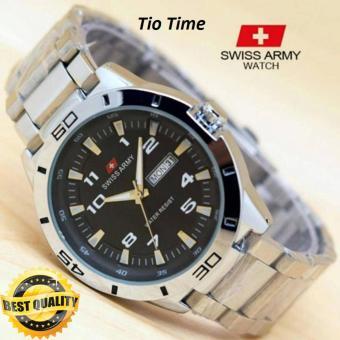 Jam Tangan Swiss Army Pria Original SA7658TIO Stainless Steel Hari Tanggal Aktif