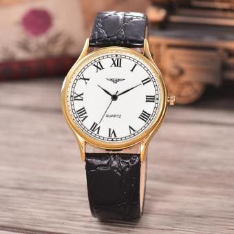 Jam Tangan Unisex - Body Gold-White Dial-Black Leather Strap-AC-3858E-GW