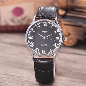 Jam Tangan Unisex - Body Silver-Black Dial-Black Leather Strap-AC-3858H-SB