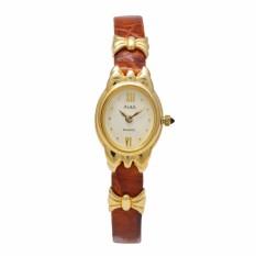 Jam Tangan Wanita - Brown Gold - Leather Strap - ARYJ24