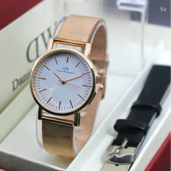 Jam Tangan Wanita Fashion DW - Strap Rosegold Nylon + Leather Strap