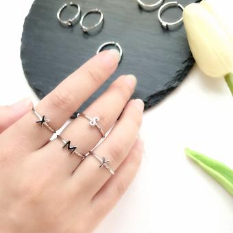 Jepang dan Korea Selatan perempuan 925 perak pembukaan cincin ekor huruf cincin