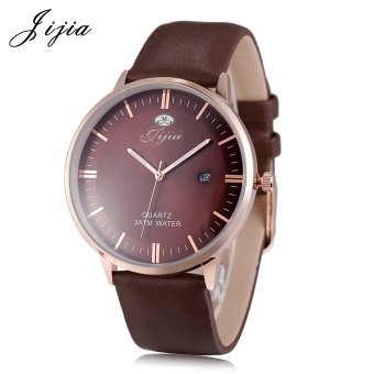 Jijia SG1279 Men Quartz Watch Date Display Genuine Leather Band 3ATM Luminous Wristwatch (Brown) - intl