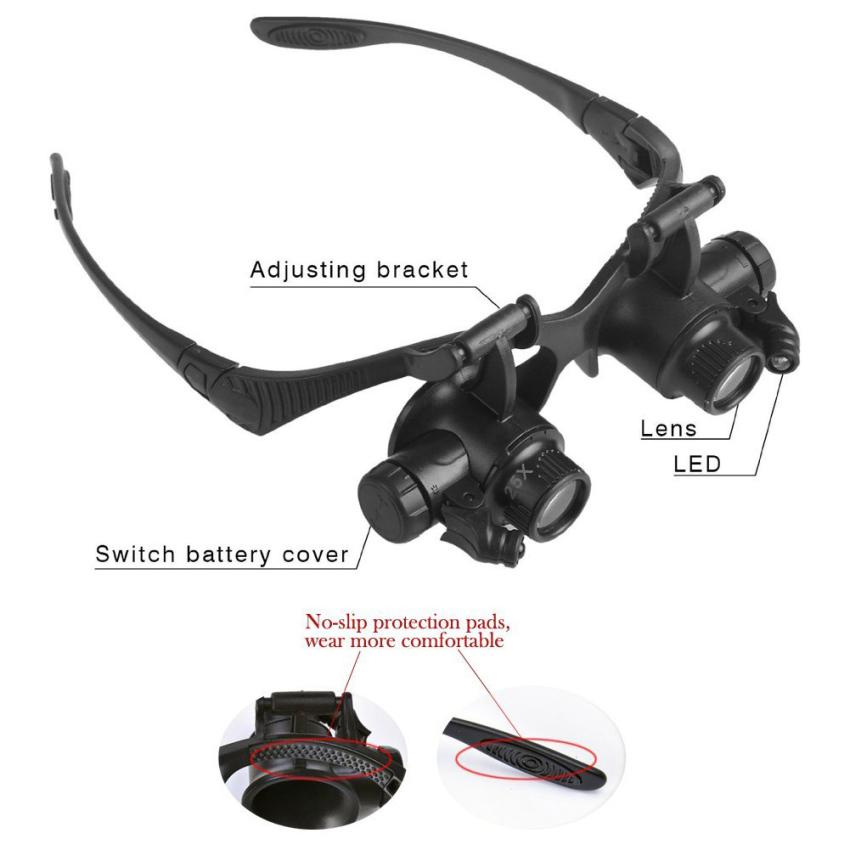 Kaca pembesar kacamata LETSBAY 10 x 15 x 20 x 25 x memimpin Double Mata Perhiasan memperbaiki pembesar (10 x 15 x 20 x 25 x mata ganda) kacamata pembesar tukang jam reparasi elektronik, penilaian perhiasan, arloji memperbaiki dan ukiran miniatur