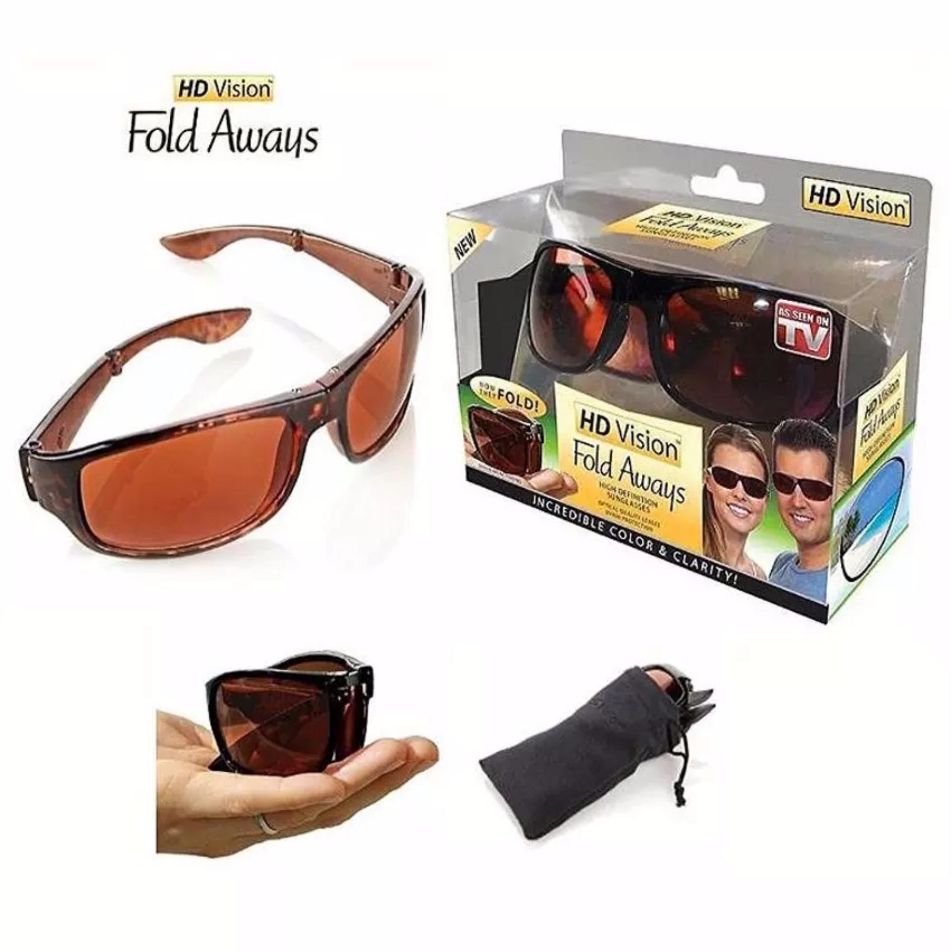 Harga Penawaran Kacamata Lipat Anti Silau Hd Vision Fold Aways Sunglasses Isi 2 Pcs Sunglass Wrap Arounds Hitam