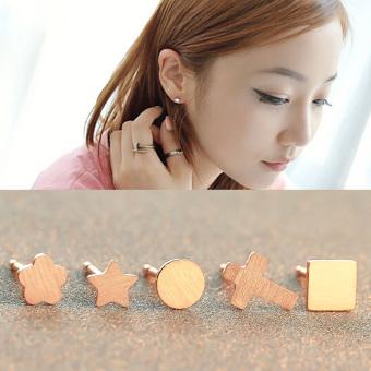 Harga Penawaran Kacang emas 18 k Korea Fashion Style asli naik berlapis emas perhiasan telinga Harga Penawaran