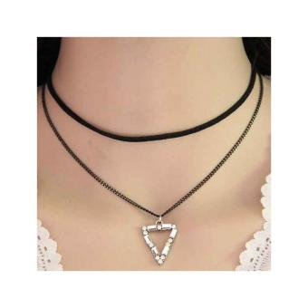 Kalung Choker Double Chain Crystal Triangle - RKL1133