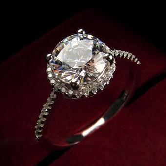 harga Karat putaran Moissanite zircon cincin pasangan simulasi cincin berlian Lazada.co.id