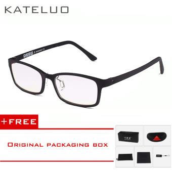 harga KATELUO Brand TUNGSTEN CARBON Computer Goggle Anti Blue Laser Fatigue Radiation-resistant Reading Glasses Frame Eyeglasses Oculos de grau 1310(Black) [ Buy 1 Get 1 Freebie ] Lazada.co.id