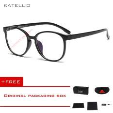 KATELUO Retro Eyeswear TR90 Anti-Komputer Biru Kelelahan Laser Radiasi-tahan Kacamata Kacamata 9300 (Hitam)