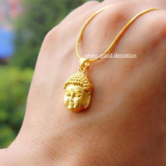 Keamanan dan perdamaian kuningan berlapis emas tulang ular kalung Buddha kepala liontin