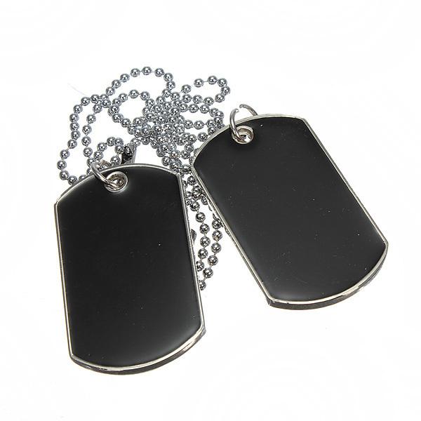 Keren gaya tentara militer dibetulkan Hitam 2 tag kecantikan haid pasangan anjing rantai kalung ...