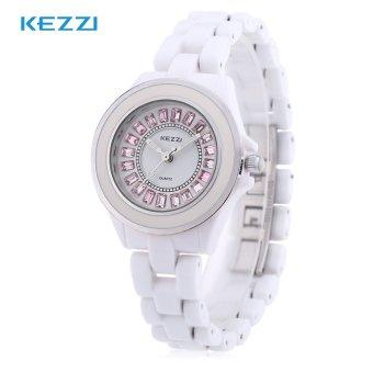 KEZZI K - 761L Female Quartz Watch Artificial Diamond Dial Ceramic Band Wristwatch - intl