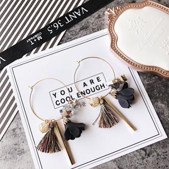 Korea Fashion Style Kain Kristal Batu Permata Bunga Telinga Cincin Logam Anting