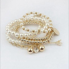 Korean Style Fashion Multi-Layer Pearl Bracelet Five-Pointed Pyramid Gold-Plated Bracelet - intl