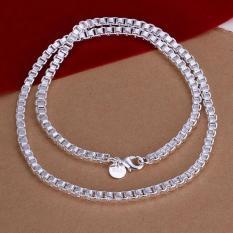 Kotak Bizantium rantai 925 Sterling Perak laki-laki kalung rantai kalung perhiasan hadiah personal