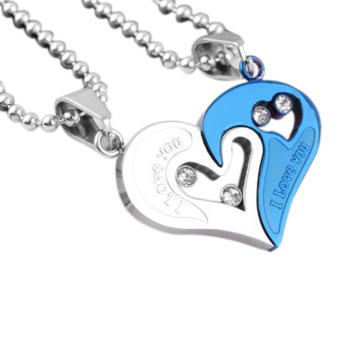 La Vie Couple Stainless Steel Love Heart Jigsaw Pendant Necklace(Blue Silver)
