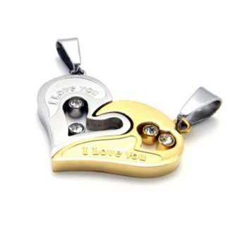 La Vie necklaces Couple Stainless Steel Love Heart Pendant Necklace(Gold Silver)