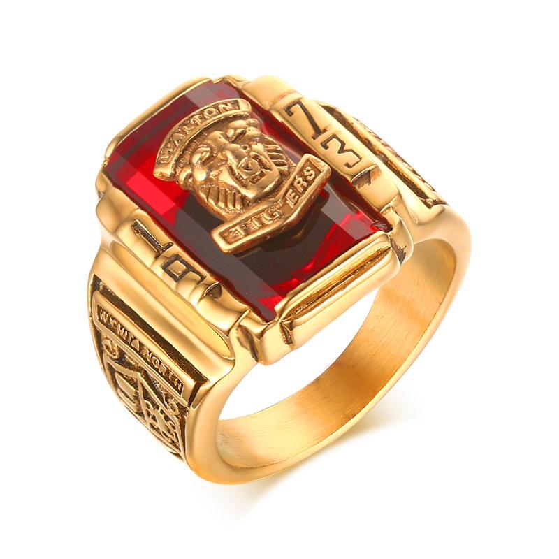 ... Laki-laki remaja Punk Rock cincin 18 KB emas berlapis besar Merah CZ cincin batu ...