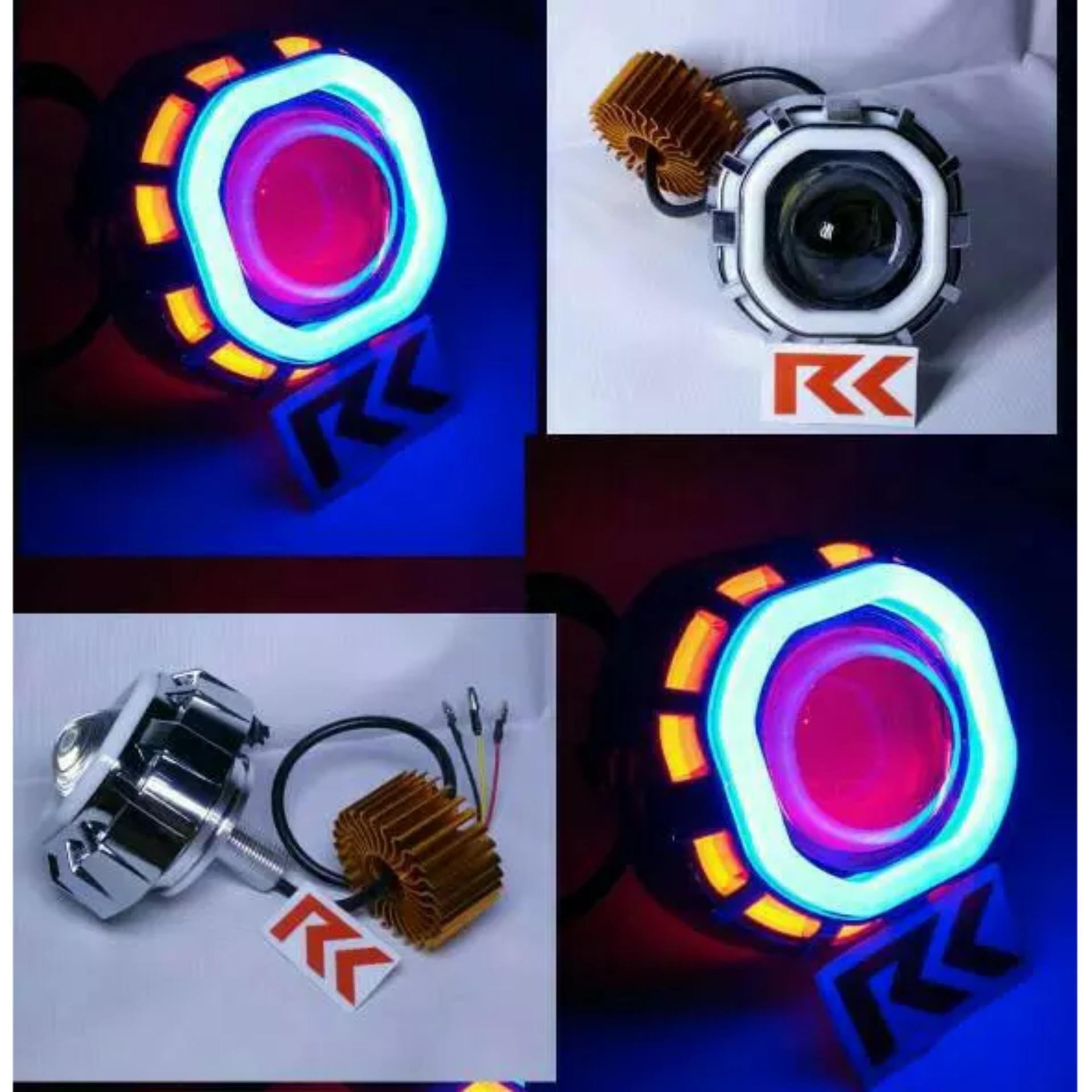 Otomotif Store Lampu Led Projie Angel Eyes Devil Bulat Update Tembak U26r Mini 3 Inch Running Campur Projector U8 Double Ae De Dan