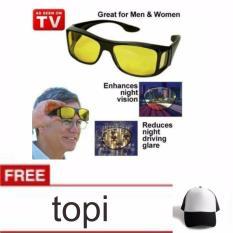 lanjarjaya Kaca Mata HD Vision Ask Vision ( 1 box isi 2 )Anti Silau Kacamata siang dan malam+topi