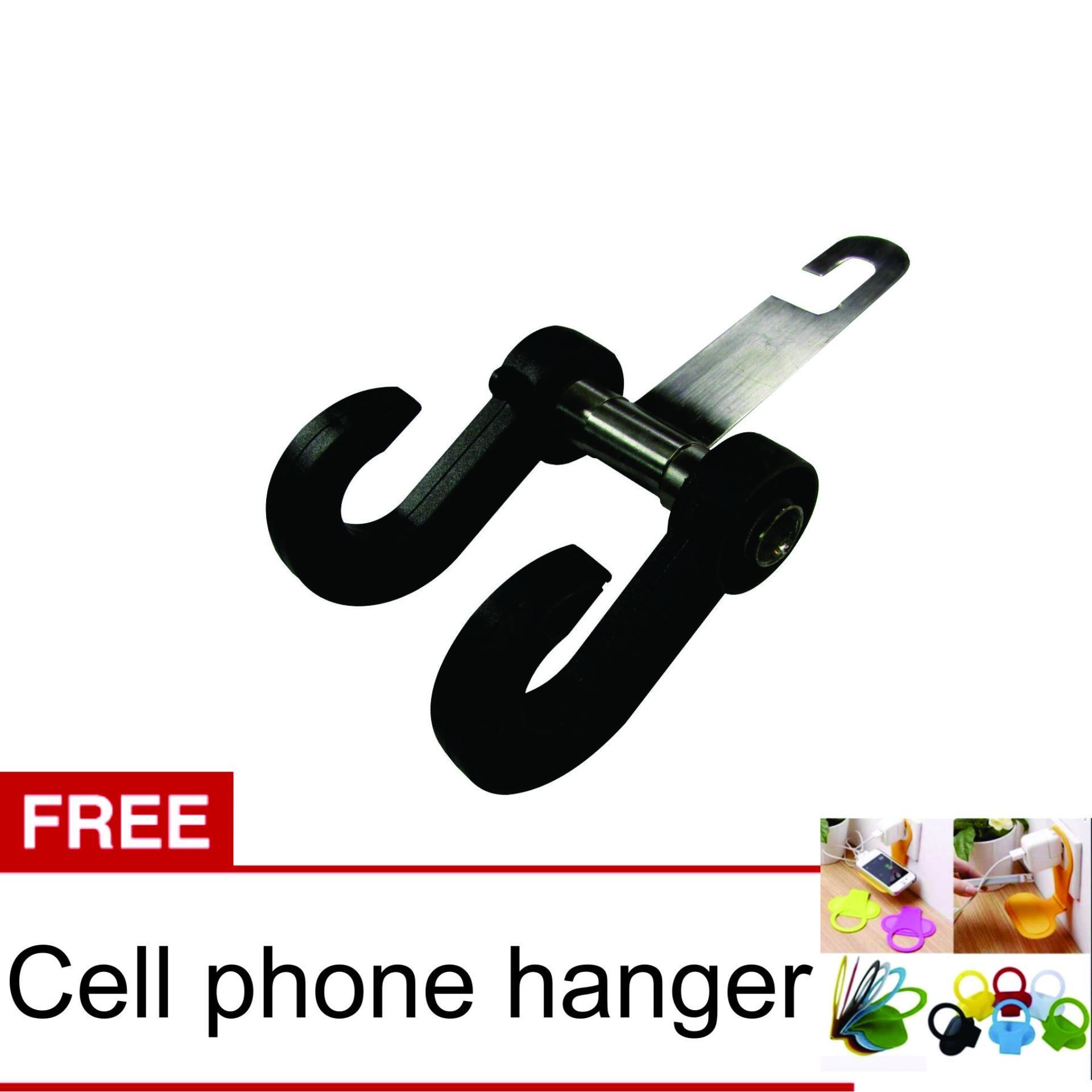 Flash Sale Lanjarjaya New Car Hanger Aksesoris Gantungan kursi jok di Mobil -Hitam + Cell Phone Hanger