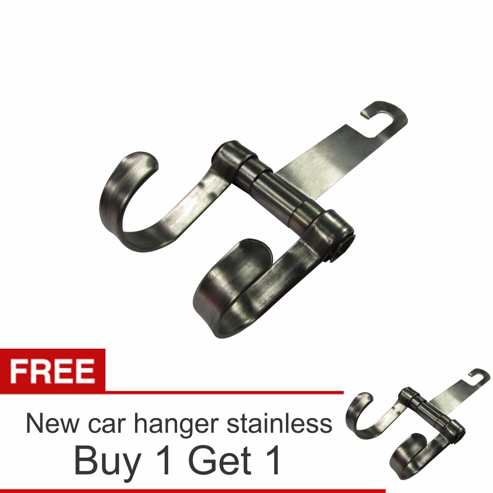 Lanjarjaya New Stainless Steel Car Hanger Aksesoris Gantungan kursijok di Mobil + Buy 1 Get 1