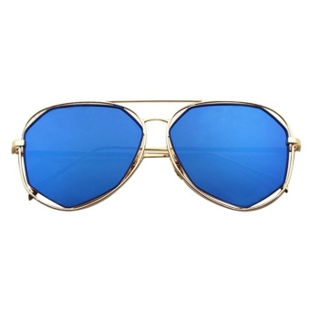 leegoal Fashion Unisex Metal Frame Flat Mirrored Lens Sunglasses ,Gold And Blue - intl