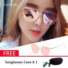 Leegoal Women sunglasses wanita kacamata hitam Sunscreen Anti - UV warna Film Sunglasses, emas dan pink