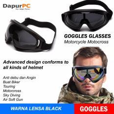 Lensa Black Kacamata Goggles Ski Helm Cross Trail Downhill Airsoftgun Anti Silau
