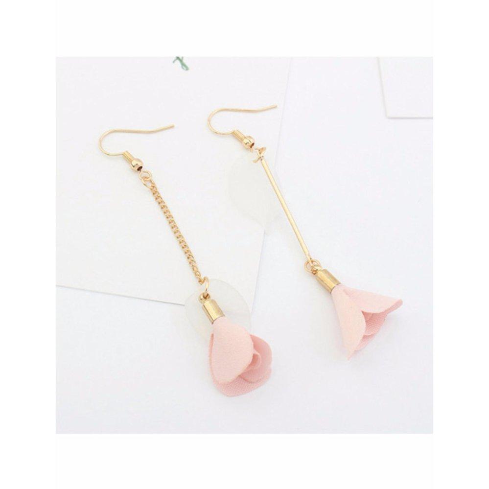 LRC Anting Elegant Pink Flower Pendant Decorated Tassel Design Color Matching Earrings .