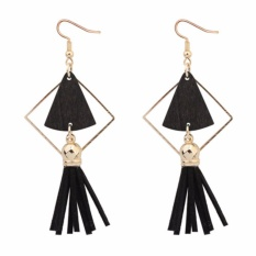 LRC Anting Gantung Fashion Fan Shape Decorated Hollow Out Tassel Simple Earrings