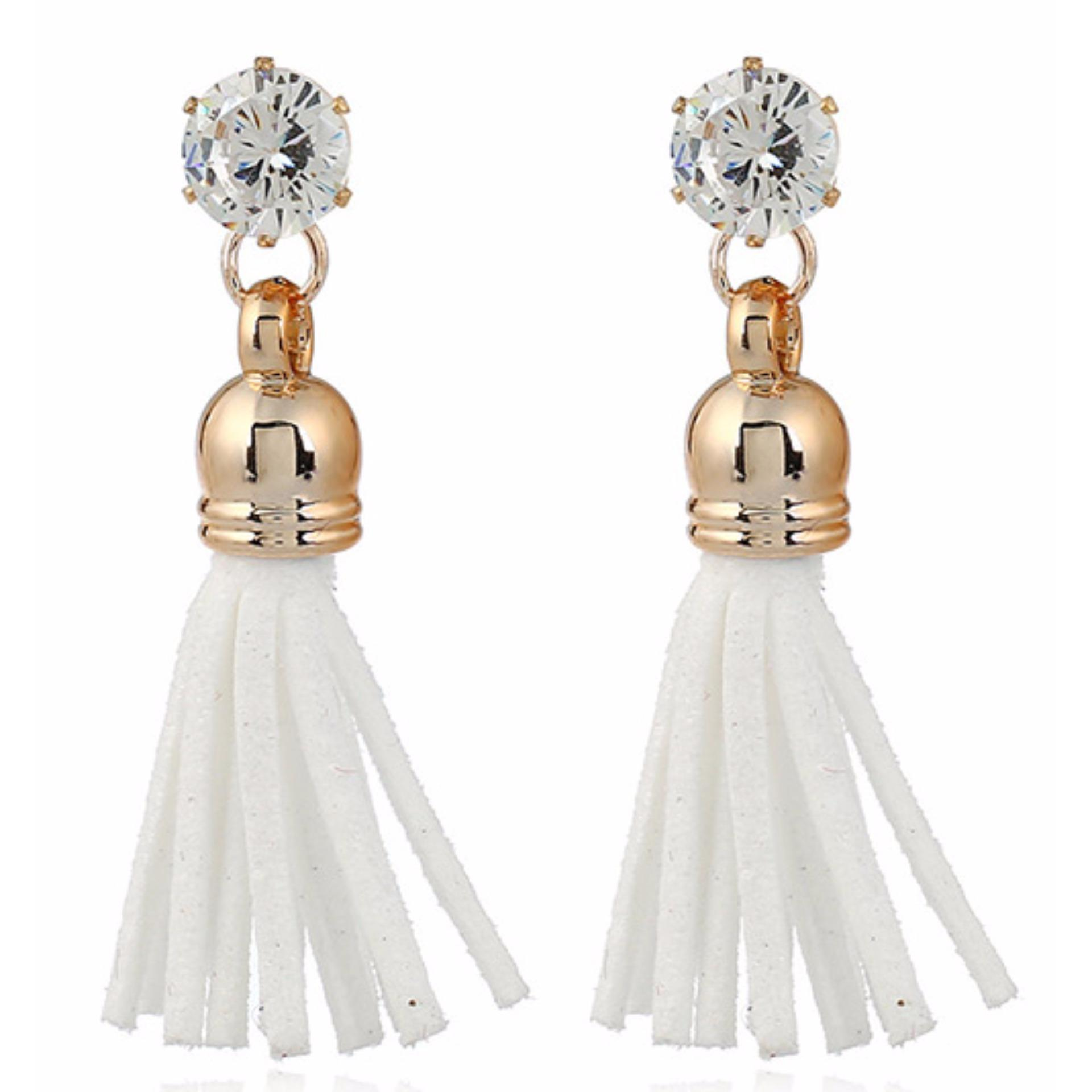 LRC Anting Tusuk Trendy White Diamond&tassel Decorated Pure Color Simple Earrings .