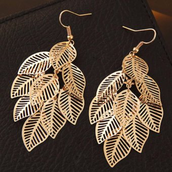 ... LRC Anting Wanita Fashion Gold Color Metal Leaf Decorated Pure Color Design Simple Earrings