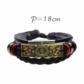 Detail Gambar Produk LRC Gelang Tangan Personality Metal Anchor Decorated Simple Hand Woven Simple Bracelet Terbaru