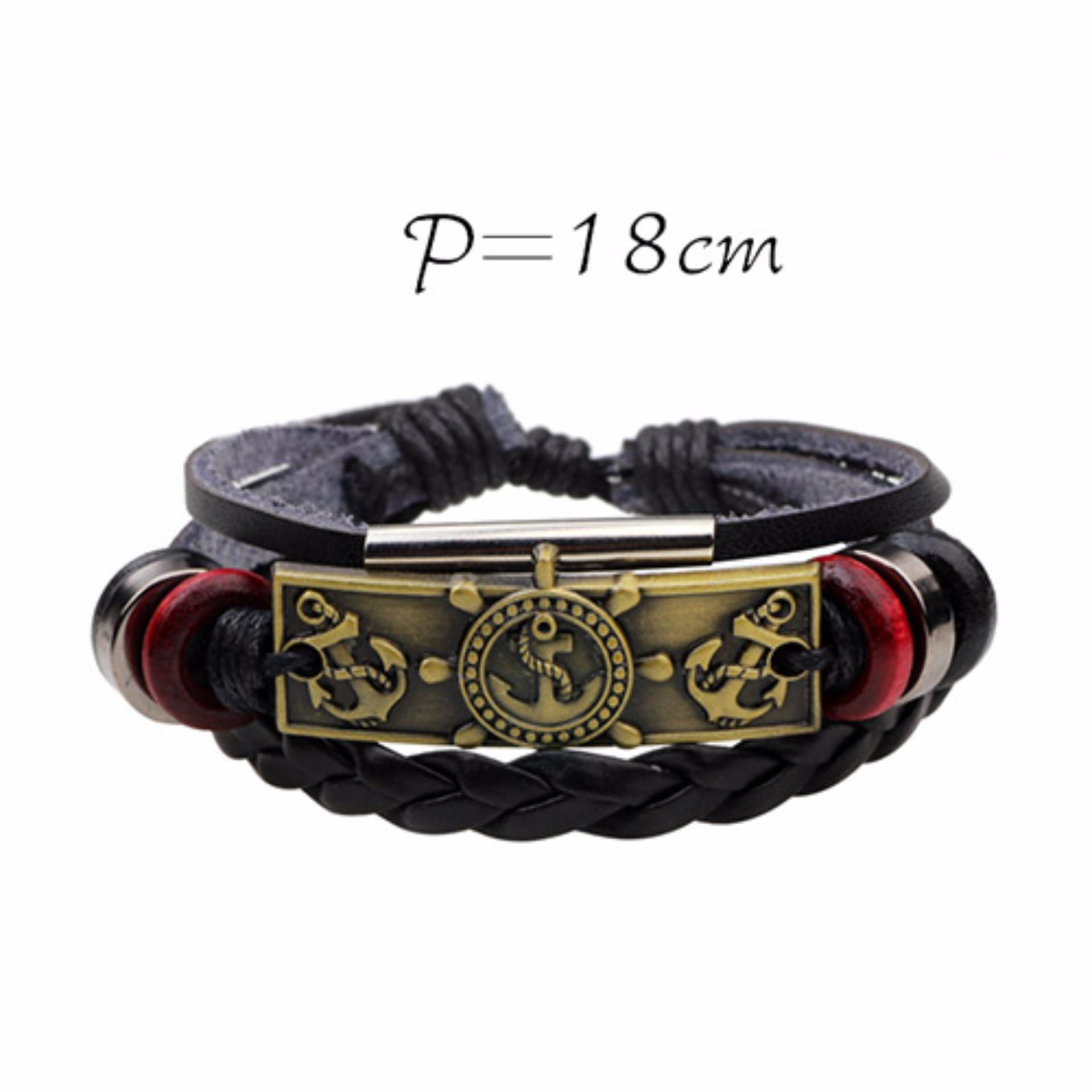 LRC Gelang Tangan Personality Metal Anchor Decorated Simple Hand Woven Simple Bracelet ...