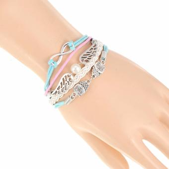 LRC Gelang Tangan Trendy White+blue Double Owl&wings Decorated Multilayer Design