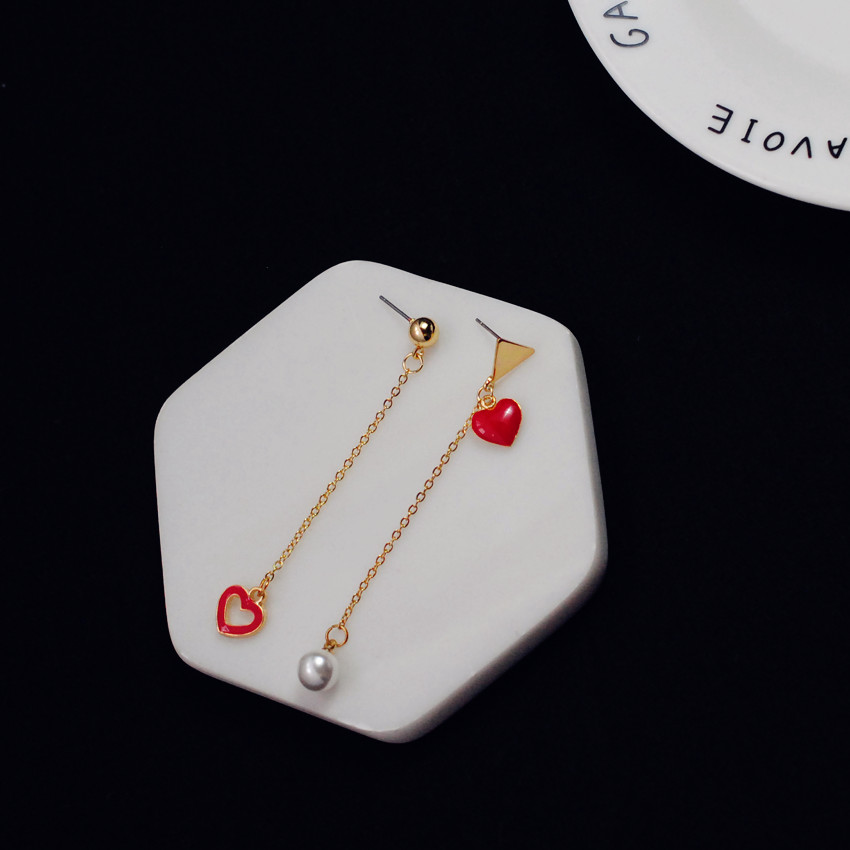 Cheap online Lucu cinta merah hati anting-anting mutiara anting