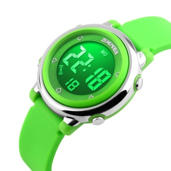 Luxury Brand Skmei Coloful LED Digital Children Girl Green Silicone Strap Sports Watches Student Fashion Wristwatches 1100 Original (Green) - intl