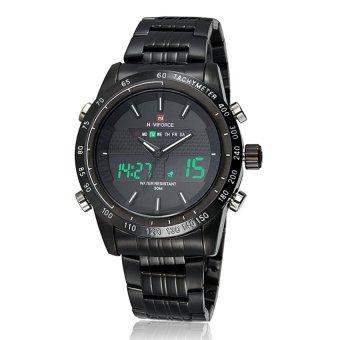 Man Analog-Digital Dual display waterproof sport watch withStainless Steel band (Black +While