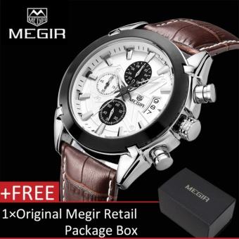 MEGIR 2020G Men Watch Analog 3 Sub-dials Waterproof Luminous Chronograph Quartz Wrist Watches with Black Leather Strap - intl