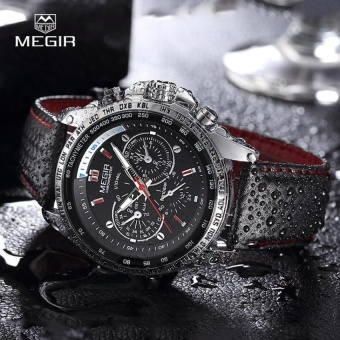 MEGIR fashion quartz luminous watch brand man casual leather men watches analog watch - waterproof bracelet for men hot time in - intl