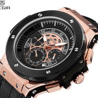 Megir Mens Chronograph Luminous Leather Strap Quartz Wristwatches Waterproof Military Sport Watch for Man 2035 - intl
