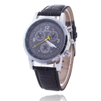 Men PU Leather Band quartz Wrist Watch - hitam