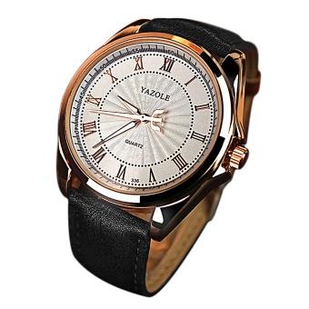 Men Roman Scale Luxury Fashion Retro Round Dial PU Leather Belt Quartz Wrist Watch Color D - intl