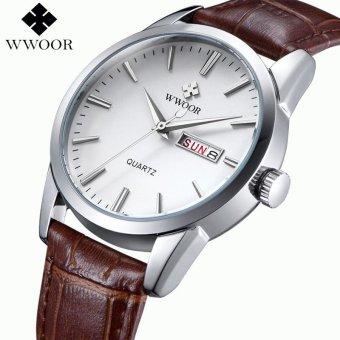 Men Watches Top Brand Date Day Genuine Leather Clock Luxury Gold Casual Watch Men's Quartz Sports Wrist Watch (White) - intl