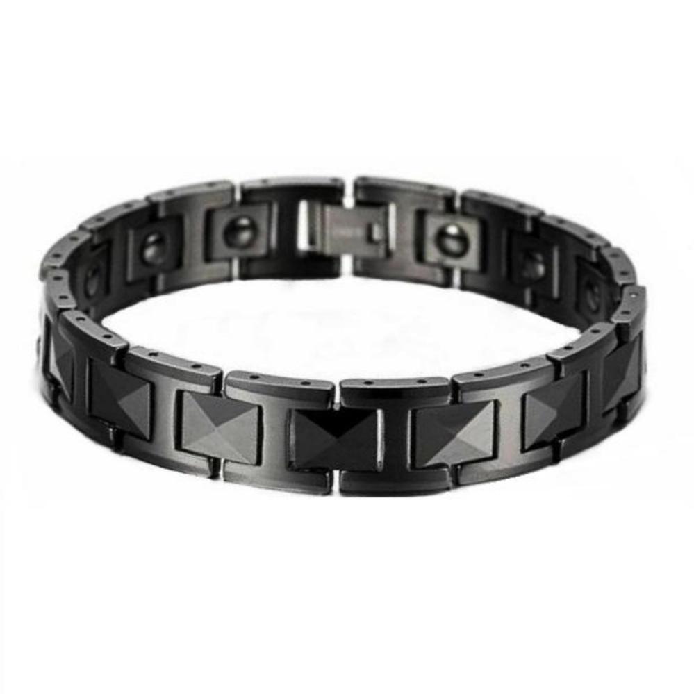 Belanja Terbaik Mens Jewelry Diamond Faceted Black Ceramic Magnetic Gelang Kesehatan Bio Bracelet Pria Hitam S M L